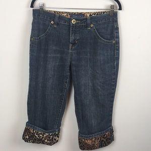 Baccini Size 8 Denim Jeans with Leopard Print Cuff